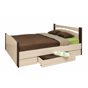 Кровать шириной 1200 с ящиком ясень шимо темный